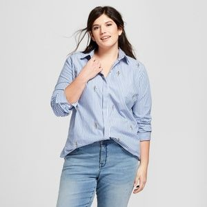 Ava & Viv Plus Size Floral Embroidery Striped Top